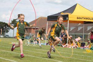 Children in a skipping race
