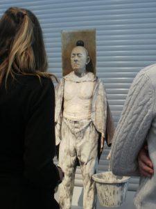 Studying sculpture in art class