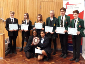 Mollie and Tilda winning second prize for French